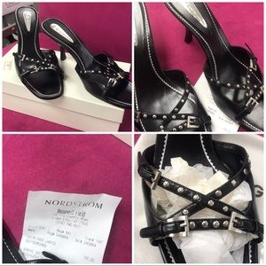 New Black Studded Kitten Heels, 8.5